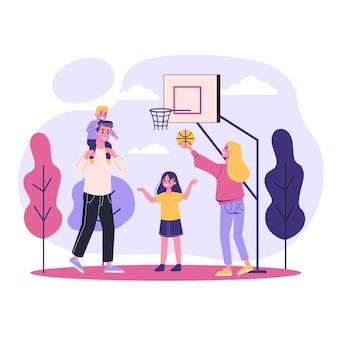 Familie speelt samen basketbal. buiten activiteit. zoon, vader en moeder. illustratie in stijl