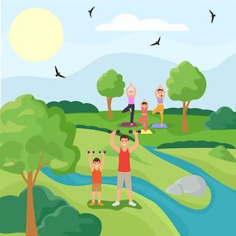Familie sport karakter vader zoon training oefening, vrouw praktijk yoga bos park platte vectorillustratie. buiten nationale tuin.