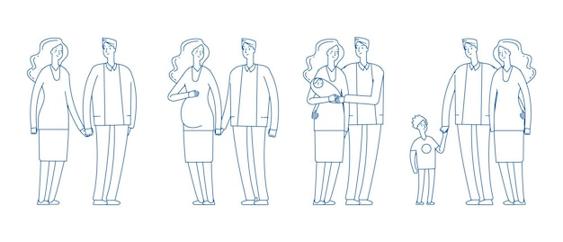 Familie stadia. jong koppel, zwangerschap ouderschap. volwassen man vrouw van dating tot kinderen. gelukkige ouders vectorillustratie. familiepaar met baby, vader en moederschap samen