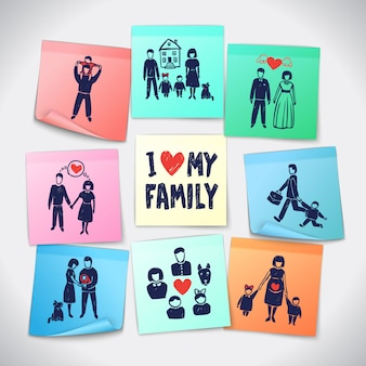 Familie stickers set
