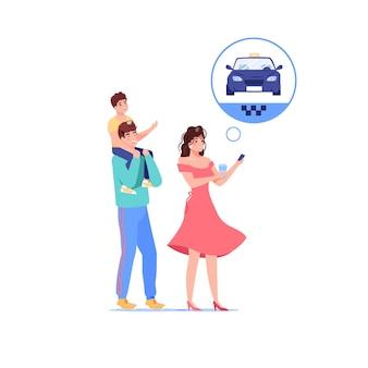 Familie stripfiguren bestellen taxi