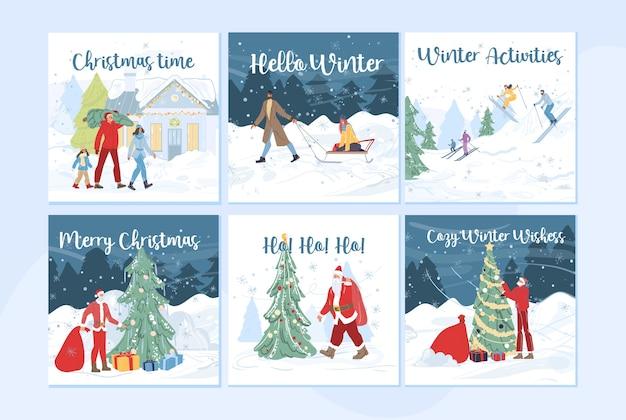 Familie stripfiguren doen winter buitenactiviteiten, skiën, kerstboom versieren