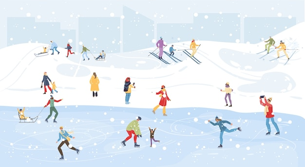 Familie stripfiguren doen wintersport buitenactiviteiten, skiën, schaatsen en sleeën in de sneeuw, prettige kerstdagen, gelukkig nieuwjaar vakantie concept