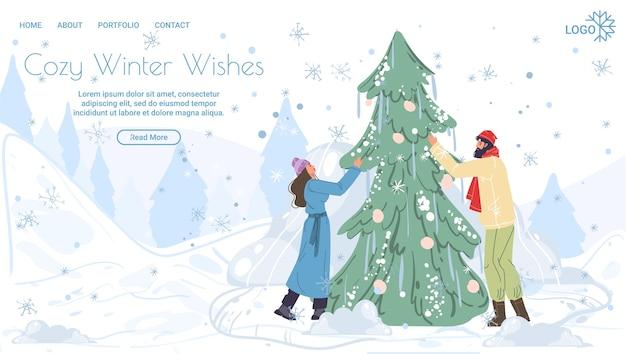 Familie stripfiguren vrolijk kerstboom versieren, vrolijk kerstfeest, gelukkig nieuwjaar vakantie concept