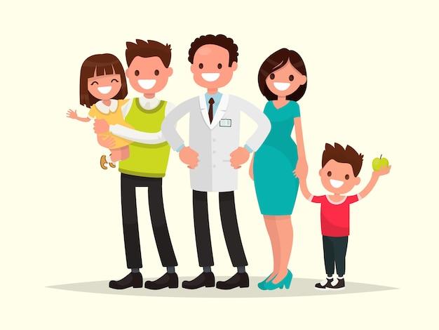 Familie tandarts. de tandarts en zijn glimlachende patiënten.