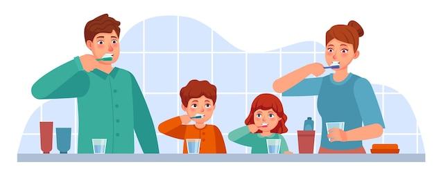 Familie tanden poetsen. ouders en kinderen tandenpoetsen samen in de badkamer. ouderlijk ouderschap mondhygiëne, tandheelkundige zorg vector concept. moeder, vader en kinderen met tandenborstel en pasta