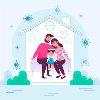 Familie thuis beschermd tegen het virus