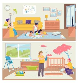 Familie thuis,. mensen vader moeder man vrouw karakter gelukkig samen op kamer, vrije tijd set.