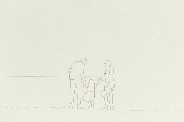 Familie tijd achtergrond eenvoudige lijntekening background