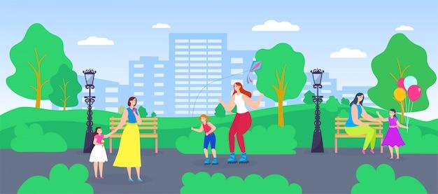 Familie tijd, actieve moeder en dochter, stripfiguur vrouw ouder met kind veel plezier samen achtergrond