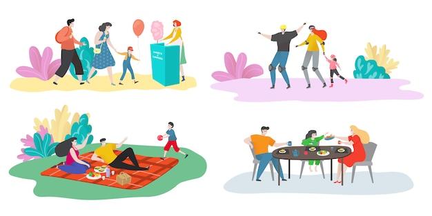 Familie tijd illustratie set, gelukkige familie personages brengen samen tijd door, ouders en kind op picknick, diner of in sportactiviteit