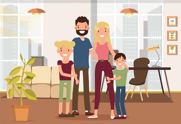 Familie tijd samen doorbrengen in de woonkamer.