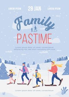 Familie tijdverdrijf poster platte sjabloon illustratie
