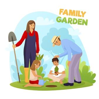 Familie tuin illustratie