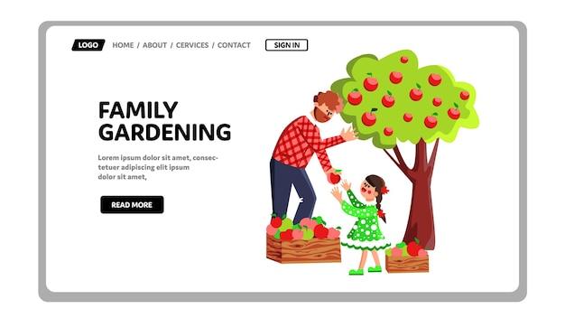 Familie tuinieren en oogsten in boomgaard