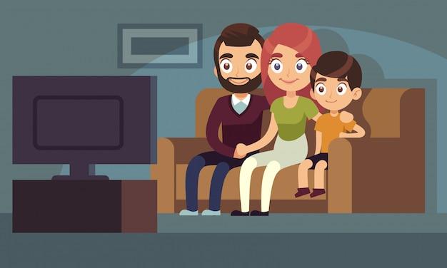 Familie tv kijken. de gelukkige familie let op tv-van de de zittingslaag van de huisruimte van de de bankvrouw van de de jonge geitjes binnenshuis vermaak televisie vlak concept