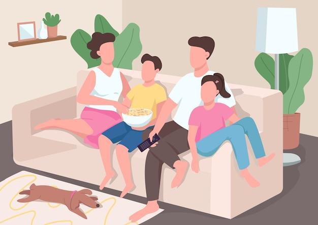 Familie tv kijken egale kleur. ouders met tienerkinderen ontspannen op de bank. mama en papa krijgen een band met kinderen. familieleden 2d stripfiguren met interieur op de achtergrond