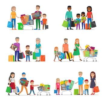 Familie uit op shopping set. kinderen en ouders