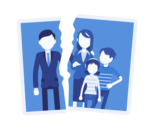 Familie uiteenvallen probleem. foto met breuk tussen mensen, ernstige ruzie, onenigheid van echtgenoot, einde met echtscheiding, split, verlies van goede relatie en liefde. illustratie met gezichtsloze karakters