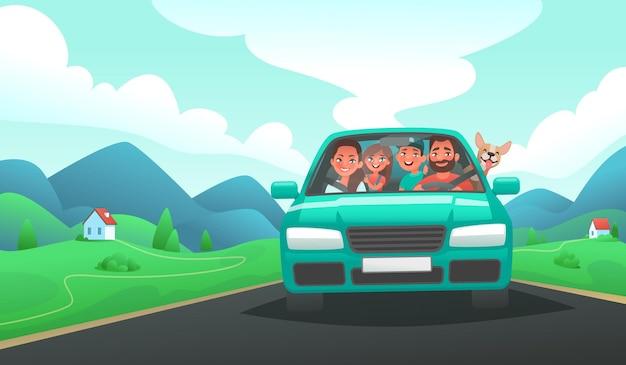 Familie-uitstapje met de auto vader, moeder, zoon en dochter rijden in een voertuig op de achtergrond van een berglandschap