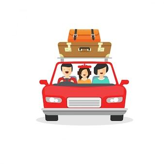 Familie-uitstapje of tour met de auto met gelukkige mensen rijden