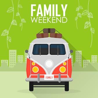 Familie vakantie, auto met bagage