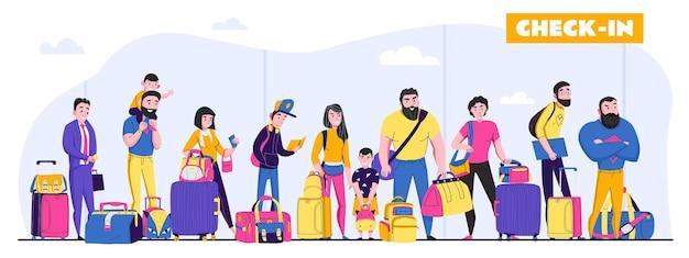 Familie vakantie horizontale illustratie