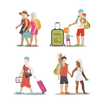 Familie vakantie set. man vrouw kinderen gaan hebben leuke interessante vakantie illustratie. reizen toerisme levensstijl collectie.