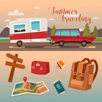 Familie vakantietijd. actieve zomervakantie door camper