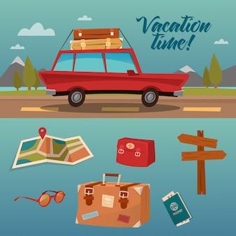 Familie vakantietijd. actieve zomervakantie per auto