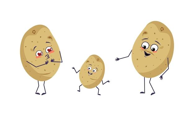 Familie van aardappelkarakters met vrolijke emoties glimlach gezicht gelukkige ogen armen en benen moeder is blij da...
