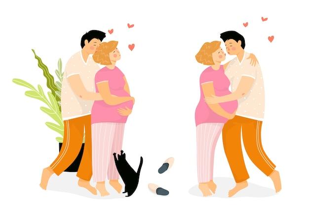 Familie van een jonge zwangere vrouw en man thuis knuffelen en zoenen. gelukkige ouders wachten op een baby, het meisje heeft een grote babybult.
