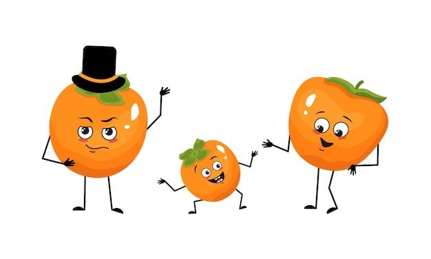 Familie van persimmon karakters met vrolijke emoties glimlach gezicht gelukkige ogen armen en benen moeder is blij...