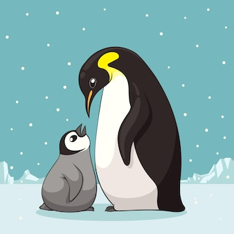Familie van pinguïns in cartoon stijl illustratie