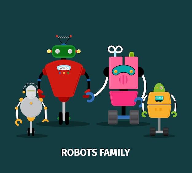 Familie van robots met kinderen