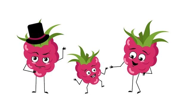 Familie van schattige frambozenkarakters met vrolijke emoties glimlach blije ogen gezicht armen en benen moeder is ...