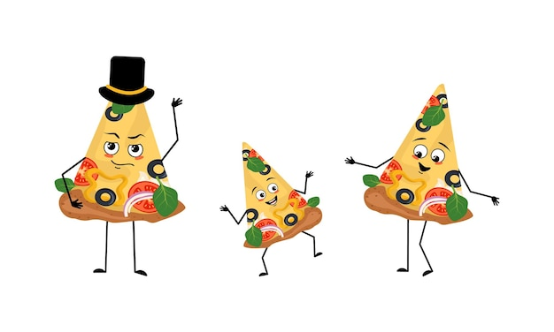 Familie van schattige pizzakarakters met vrolijke emoties glimlach gezicht gelukkige ogen armen en benen moeder is blij...