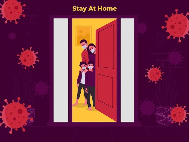 Familie verblijf thuis illustratie