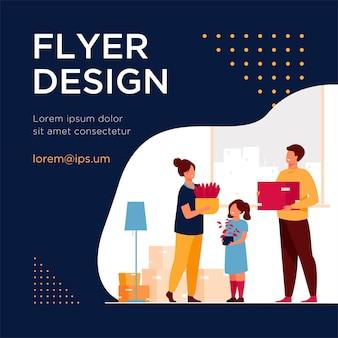 Familie verhuizen naar een nieuw huis. happy cartoon man, vrouw, jongen, meisje met dozen in appartement. flyer-sjabloon