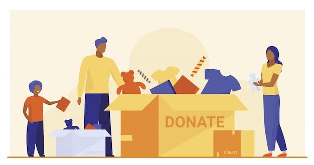 Familie verpakking donatie doos