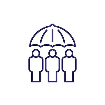 Familie verzekering lijn pictogram op wit