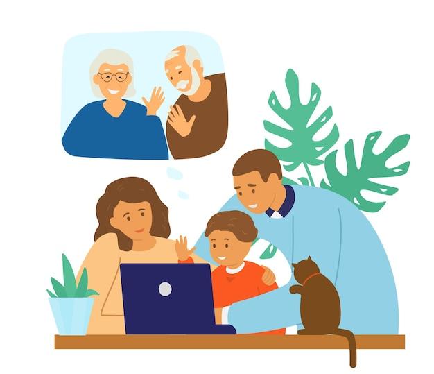 Familie videoconferentie. online communicatie.