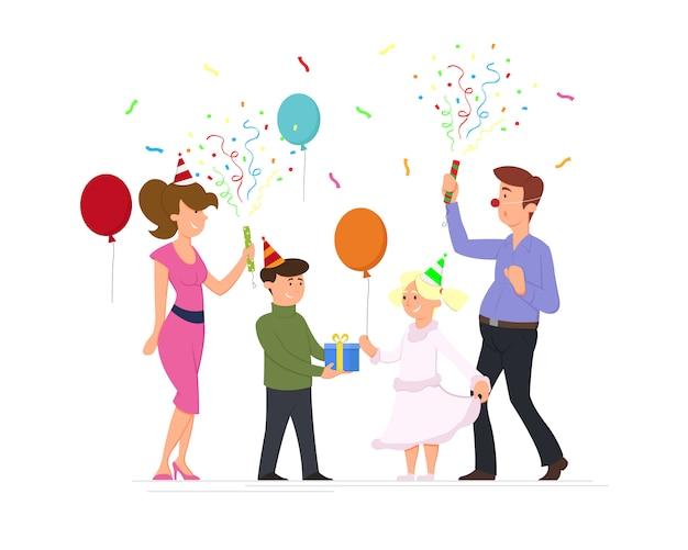 Familie vieren feest.