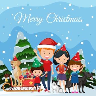 Familie vieren kerst buiten