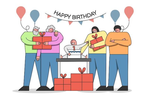 Familie viert de eerste verjaardag van de baby met cake en ballonnen