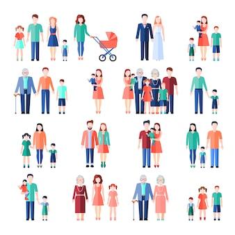 Familie vlakke stijl afbeeldingen instellen