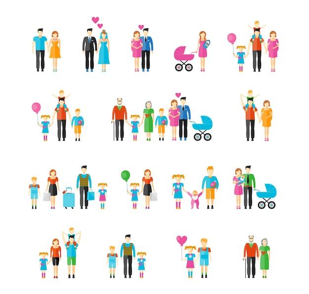 Familie vlakke stijl. dochter en grootvader, baby en vader, zoon en moeder, man en vrouw, broer en zus.
