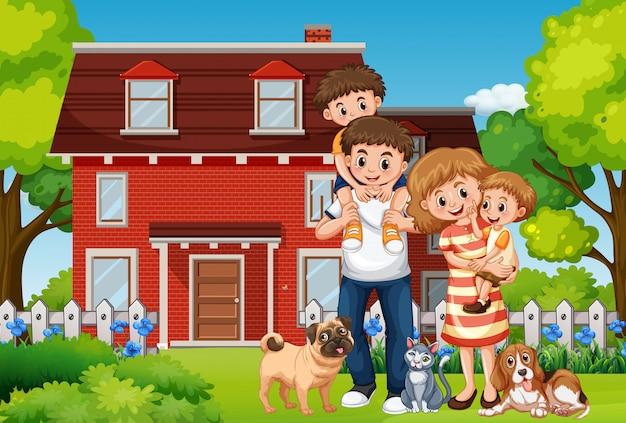 Familie voor huis