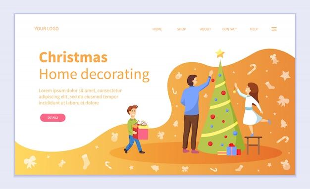 Familie voorbereiding voor kerstmis, dennenboom