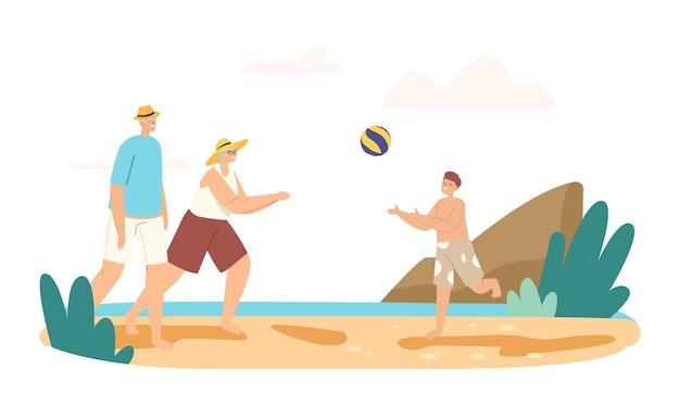 Familie vrije tijd, vakantie. grootouders en kleinzoon spelen beachvolleybal aan de kust. happy characters zomercompetitie, spel en recreatie bij ocean shore. cartoon mensen vectorillustratie